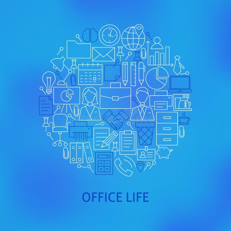 Linha fina conceito ajustado ícones do círculo da vida do escritório para negócios ilustração royalty free