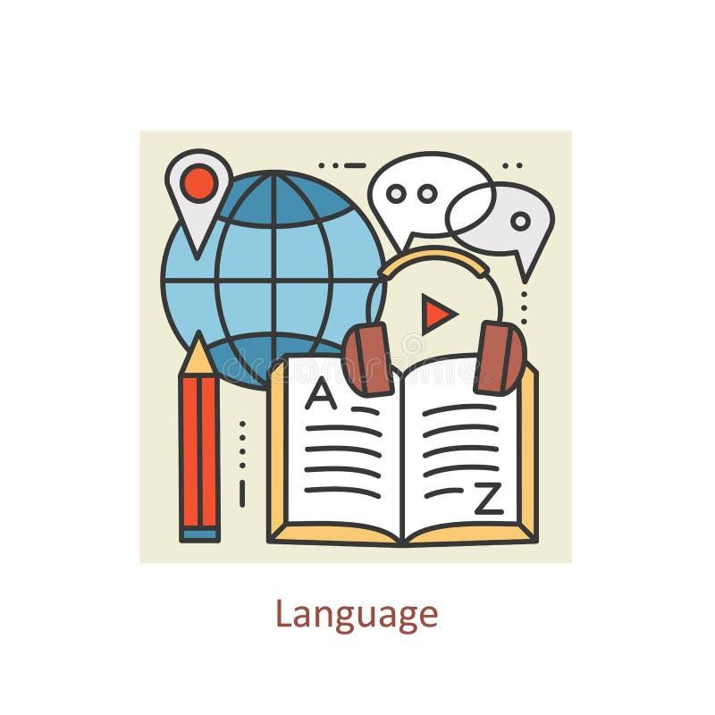 Linha fina conceito da cor moderna de aprender línguas estrangeiras, escola da formação linguística ilustração do vetor