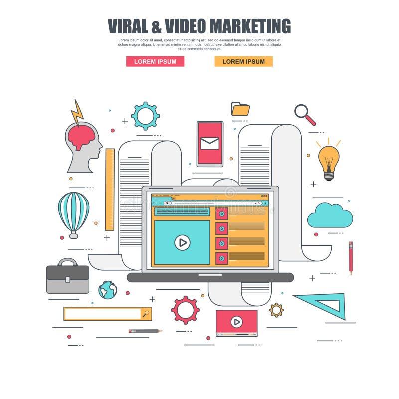 Linha fina conceito de projeto liso do mercado viral e video ilustração stock