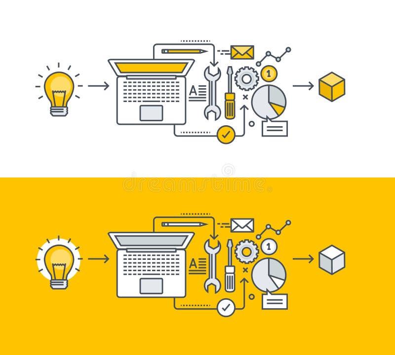 Linha fina conceito de projeto liso para o desenvolvimento de produtos ilustração stock