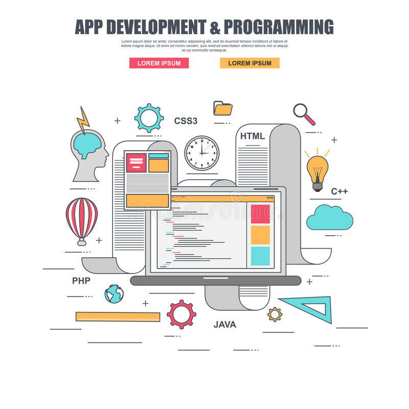 Linha fina conceito de projeto liso para o desenvolvimento e a criação do app do código de programação do Web site ilustração royalty free