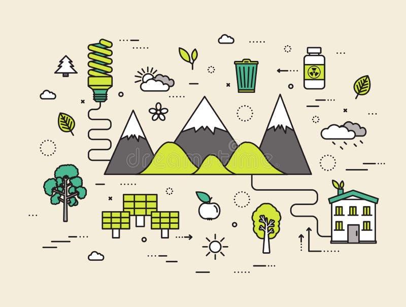 Linha fina conceito moderno da ilustração dos recursos naturais Maneira de Infographic da ecologia à energia limpa Ícones no bran ilustração stock