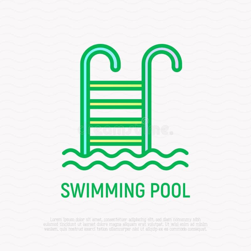 Linha fina ?cone da piscina Ilustra??o moderna do vetor ilustração stock