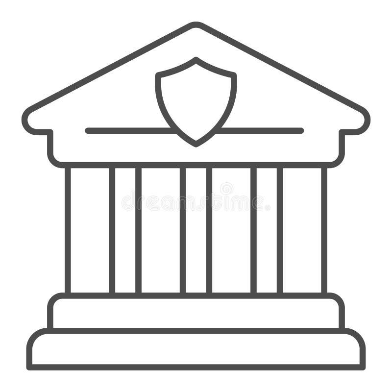 Linha fina ?cone do tribunal Ilustra??o do vetor da arquitetura grega isolada no branco Projeto do estilo do esbo?o do banco, pro ilustração do vetor