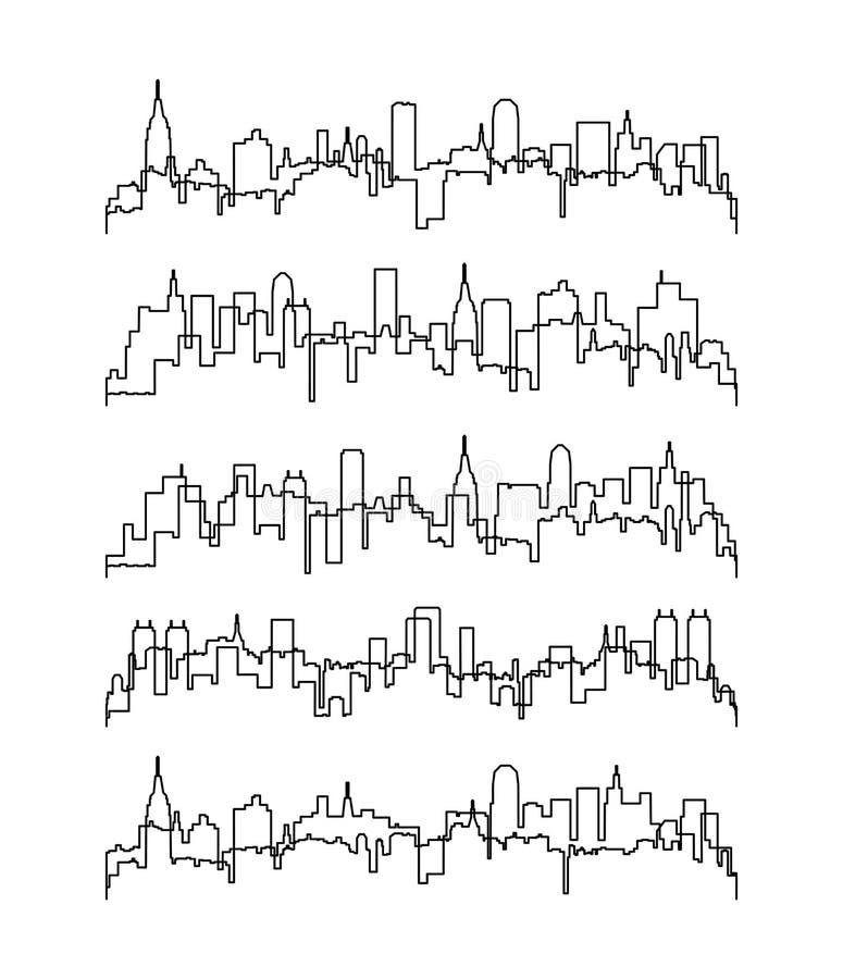 linha fina contornos de construções ilustração royalty free
