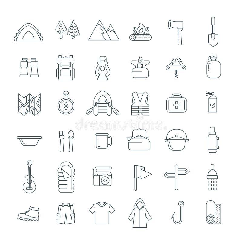 Linha fina de acampamento ícones lisos do turismo do verão ilustração royalty free