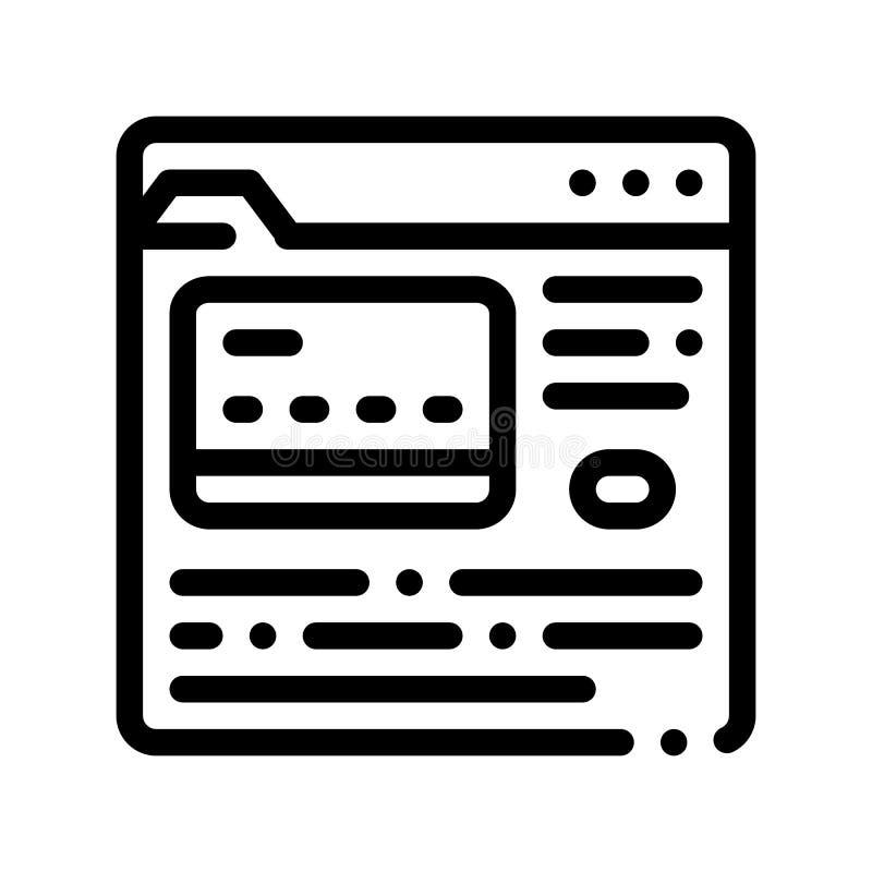 Linha fina de compra ícone do vetor do pagamento do Internet ilustração stock
