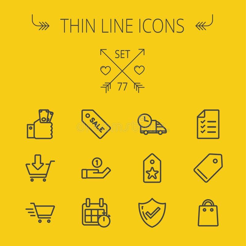 Linha fina de compra grupo do negócio do ícone ilustração stock