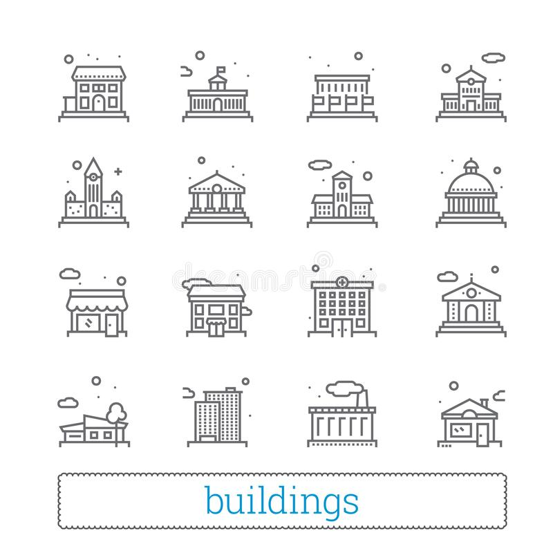 Linha fina de construção ícones Público, governo, educação e casas pessoais Elementos lineares modernos do projeto do vetor ilustração royalty free