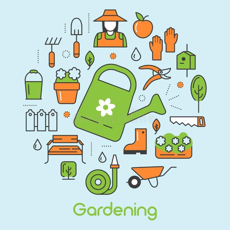 Linha fina de jardinagem ícones ajustados com flores e jardineiro ilustração stock