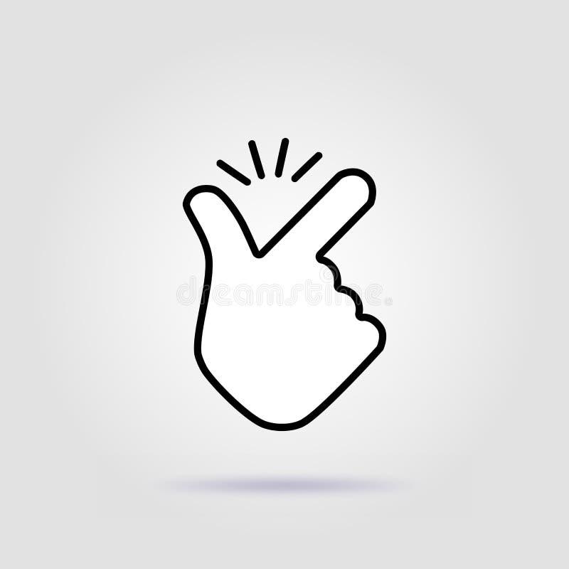 A linha fina dedo da pressão gosta do ícone fácil do logotipo ilustração do vetor