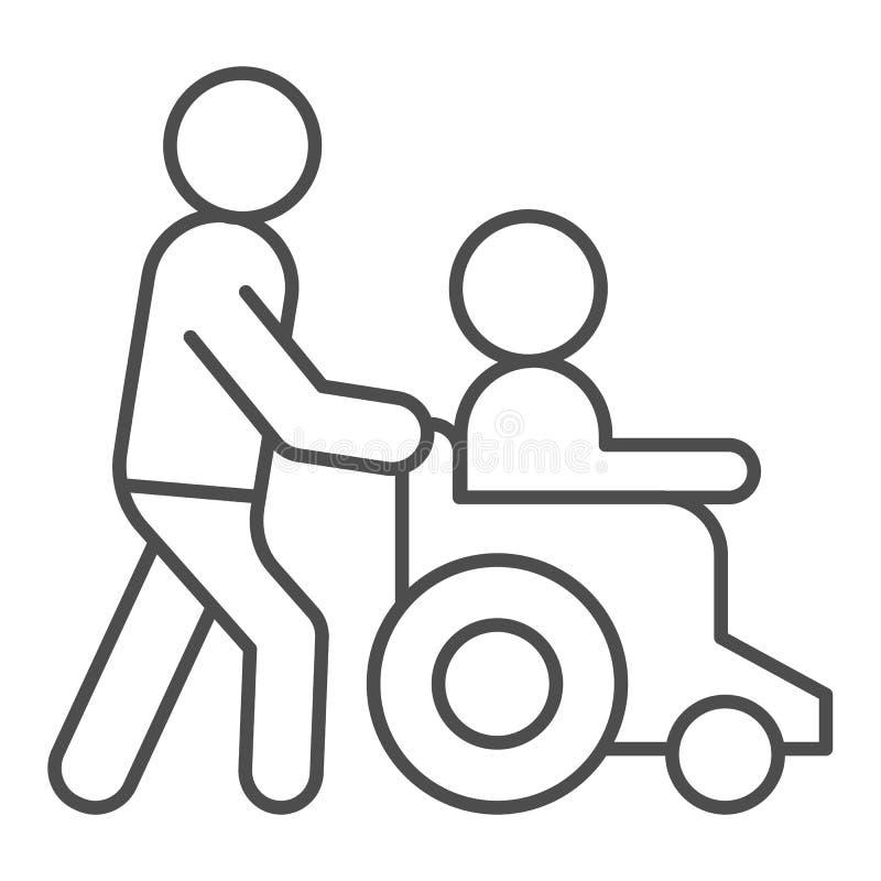 Linha fina deficiente ícone da ajuda Homem na ilustração do vetor da cadeira de rodas isolada no branco Os povos da inabilidade a ilustração royalty free