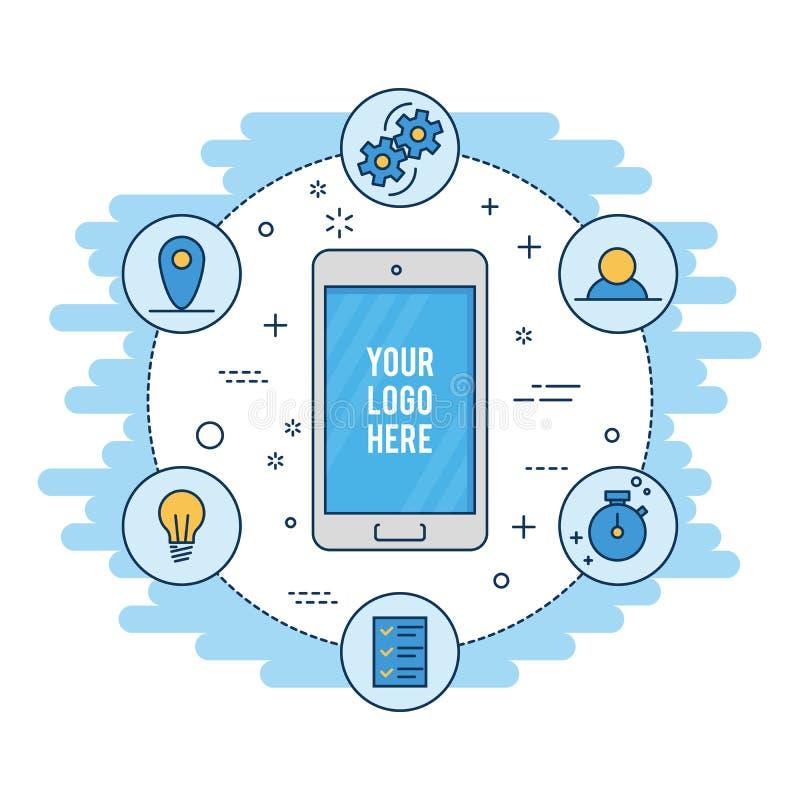 Linha fina desenvolvimento liso do móbil do projeto Isolado no fundo branco ilustração stock