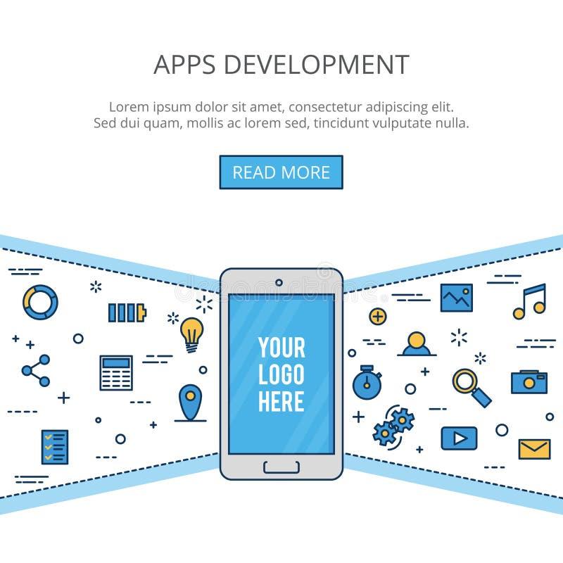 Linha fina desenvolvimento liso do móbil do projeto Isolado no fundo branco ilustração royalty free