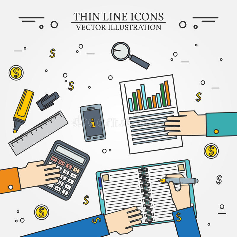 Linha fina do ícone da contabilidade para a Web e o minimalisti móvel, moderno ilustração do vetor