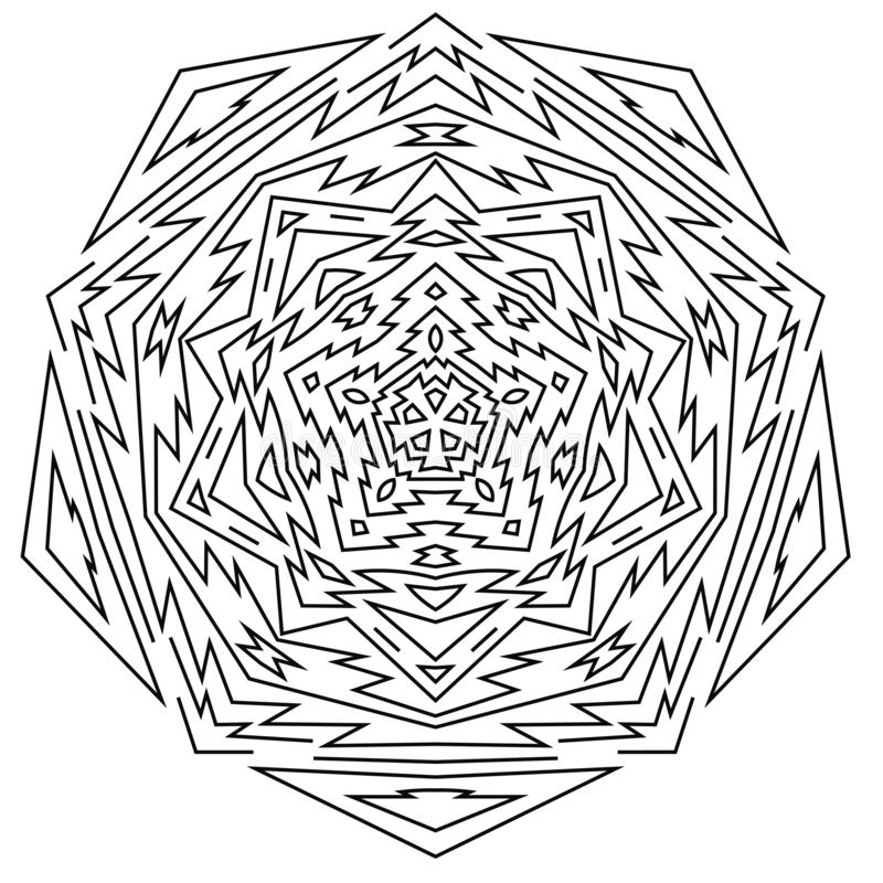 Linha fina do Aztec mandala Elemento geométrico redondo tribal isolado ilustração royalty free