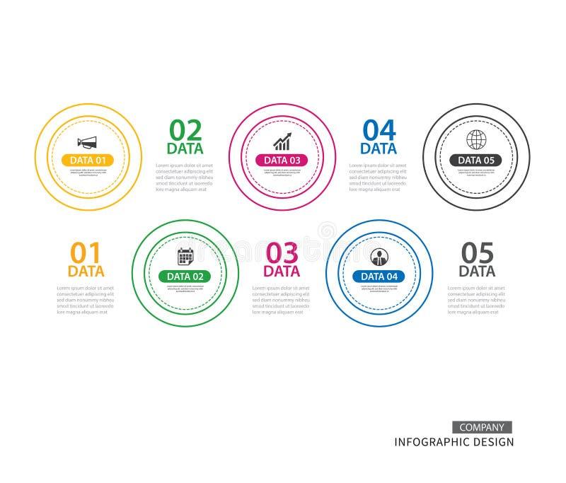 Linha fina do círculo de Infographics com molde de 5 dados Illus do vetor ilustração stock
