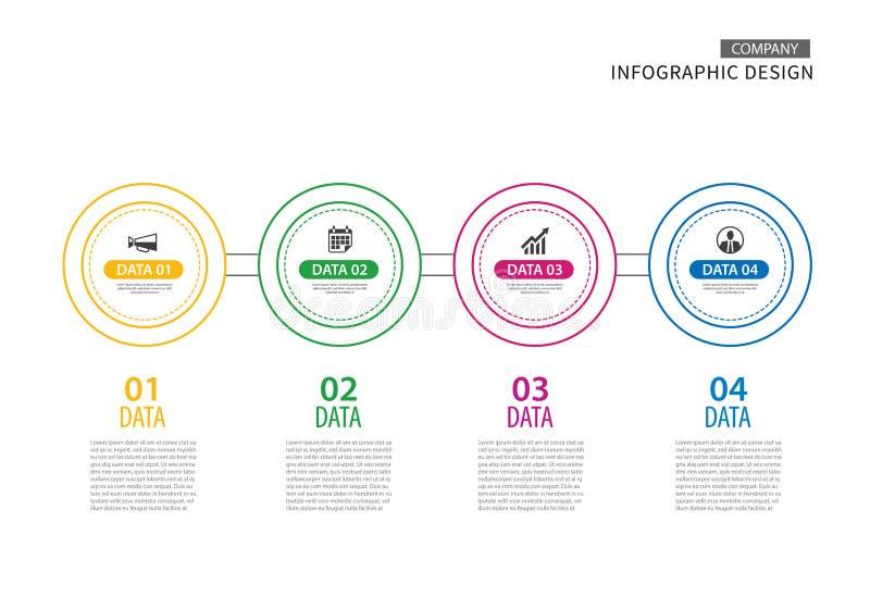 Linha fina do círculo de Infographics com molde de 4 dados Illus do vetor ilustração royalty free