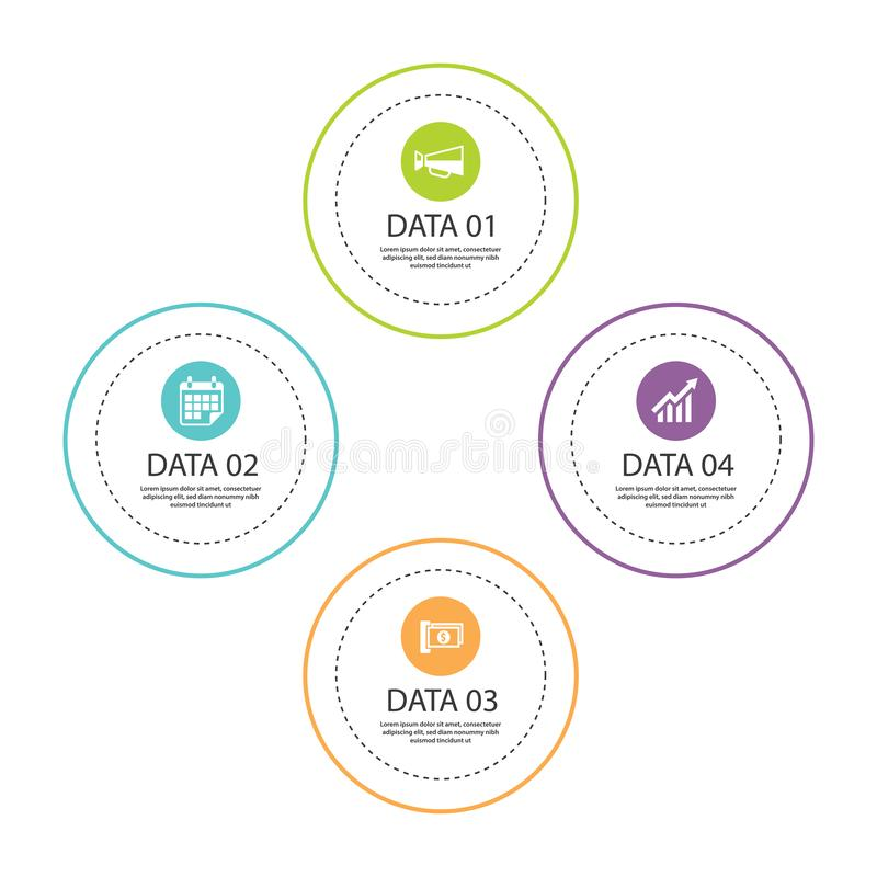 Linha fina do círculo de Infographics com molde de 4 dados Illus do vetor ilustração do vetor