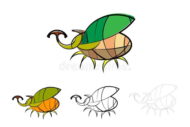 A linha fina do molde do projeto do vetor do erro do besouro e o a lápis desenho grosso denominam o logotipo e o general da ilust ilustração royalty free