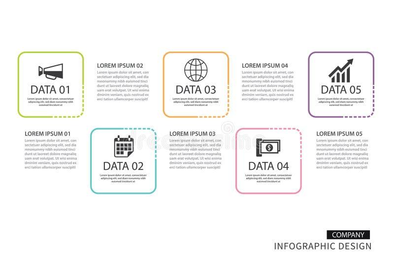 Linha fina do quadrado de Infographics com molde de 4 dados Illus do vetor ilustração royalty free