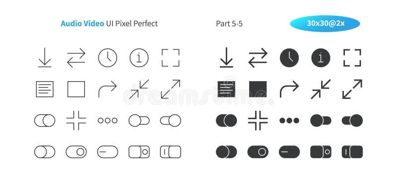 Linha fina do vetor bem feito perfeito audio do pixel do vídeo UI e grade 2x contínua dos ícones 30 para gráficos e Apps da Web ilustração royalty free