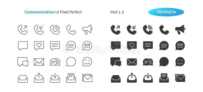 Linha fina do vetor bem feito perfeito do pixel de uma comunicação UI e grade 2x contínua dos ícones 30 para gráficos e Apps da W ilustração royalty free