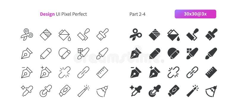 Linha fina do vetor bem feito perfeito do pixel do projeto gráfico UI e grade 3x contínua dos ícones 30 para gráficos e Apps da W ilustração do vetor