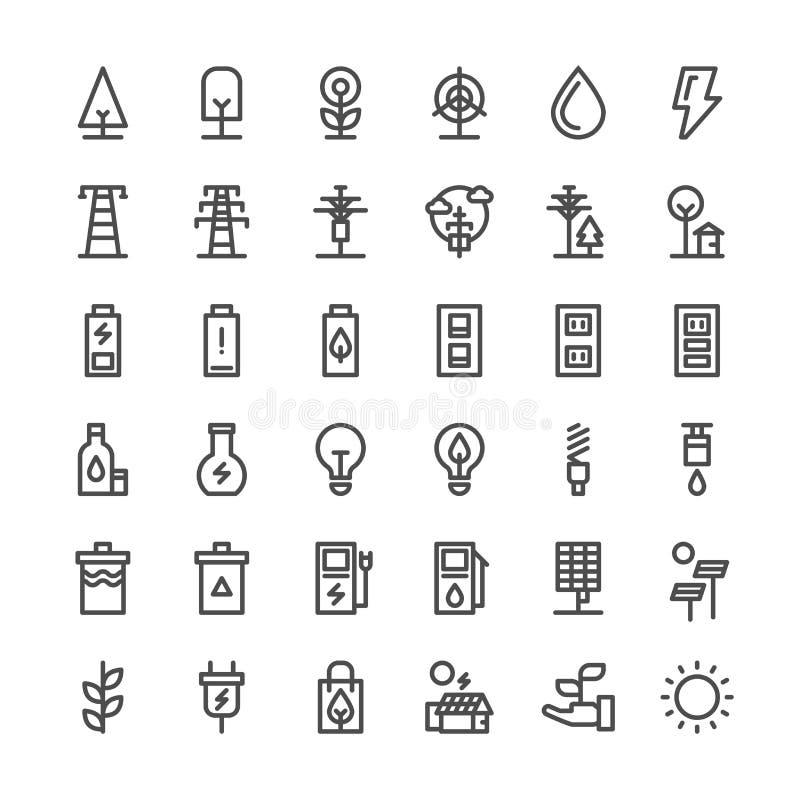 Linha fina ecológica grupo da natureza e da energia do ícone ilustração stock