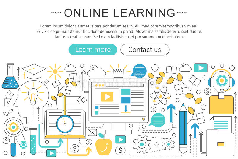 Linha fina elegante conceito em linha do vetor da educação do ensino eletrónico liso do projeto da arte moderna ilustração do vetor