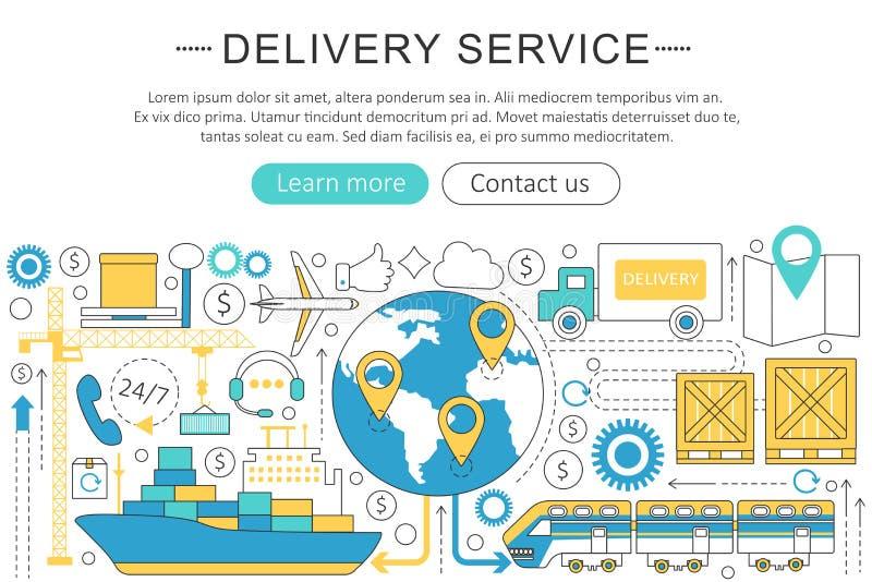 A linha fina elegante logística lisa do vetor do transporte da carga da entrega do projeto da arte moderna presta serviços de man ilustração do vetor