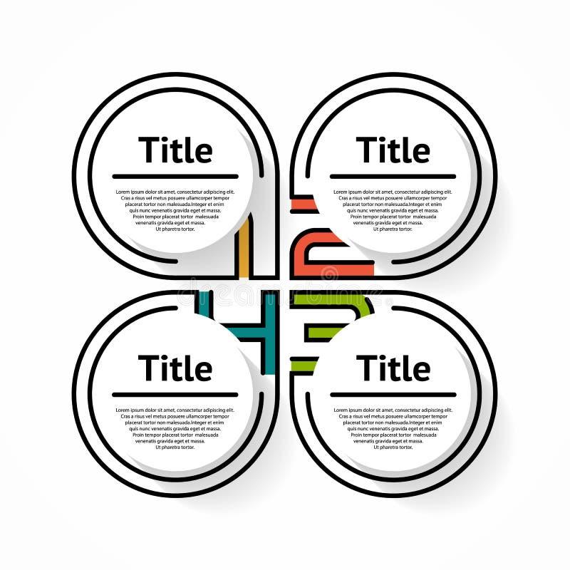 Linha fina elemento infographic Carta lisa linear, diagrama, esquema, gráfico com 4 etapas ilustração royalty free