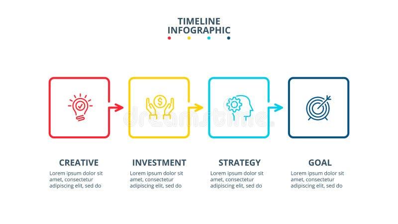 Linha fina elementos lisos para infographic Molde para o diagrama, o gráfico, a apresentação e a carta Conceito do negócio com 4 ilustração royalty free