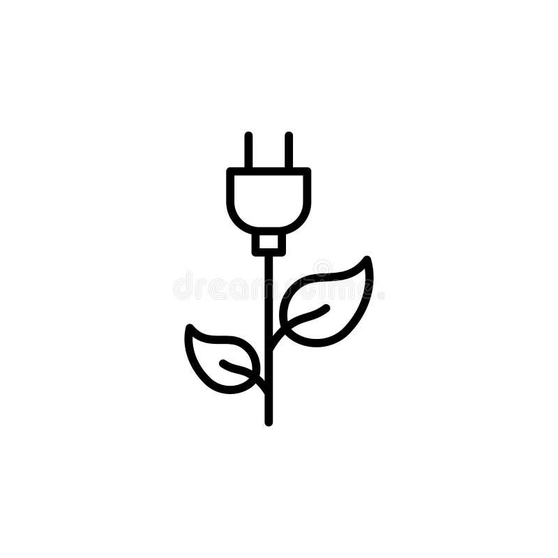 Linha fina energia eficiente, tomada com ícone da folha ilustração do vetor