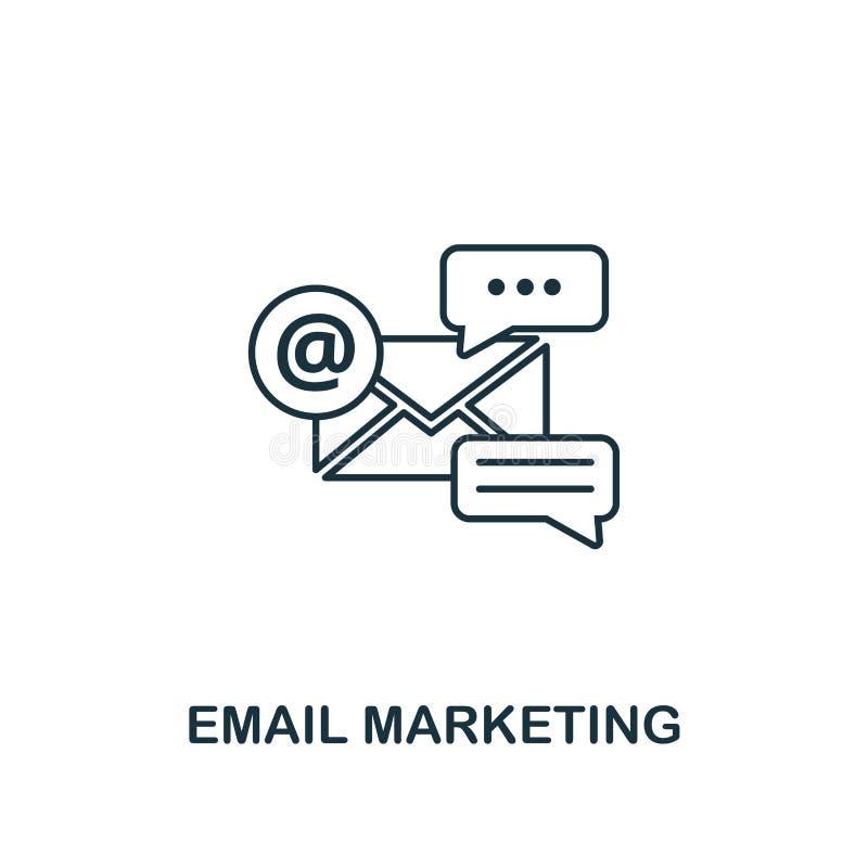 Linha fina estilo do ícone do mercado do e-mail Símbolo da coleção de mercado em linha dos ícones Ícone do mercado do e-mail do e ilustração stock