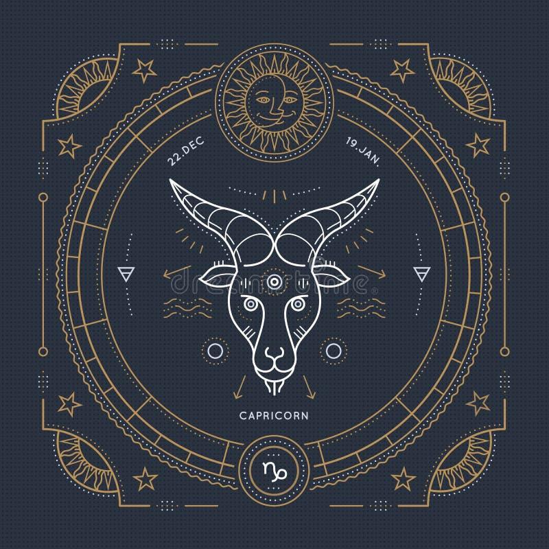 Linha fina etiqueta do vintage do sinal do zodíaco do Capricórnio Símbolo astrológico do vetor retro, elemento místico, sagrado d ilustração stock