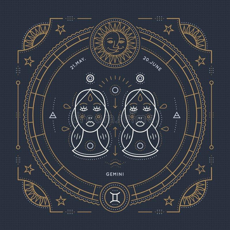 Linha fina etiqueta do vintage do sinal do zodíaco dos Gêmeos Símbolo astrológico do vetor retro, elemento místico, sagrado da ge ilustração royalty free
