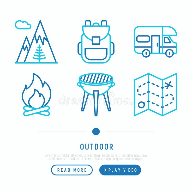 Linha fina exterior grupo dos ?cones: montanhas, trouxa, campista, fogo, ilustração royalty free