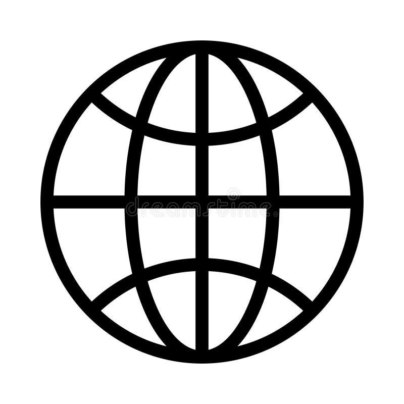 Linha fina global ?cone do vetor ilustração royalty free