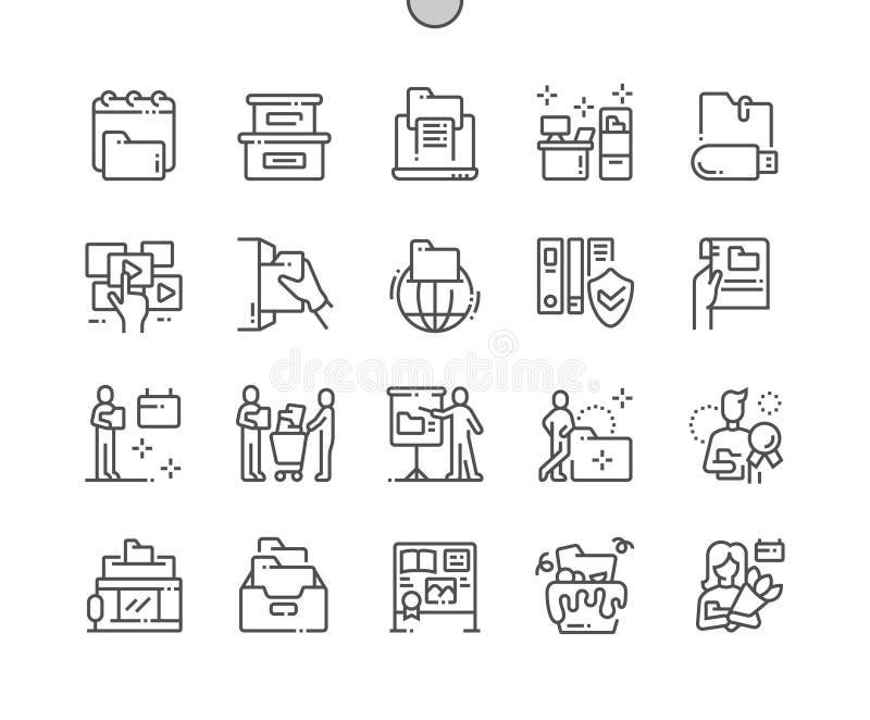 Linha fina grade 2x dos ícones 30 do vetor perfeito bem feito internacional do pixel do dia dos arquivos para gráficos e Apps da  ilustração stock
