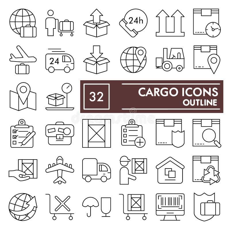 Linha fina grupo da carga do ícone, símbolos coleção da entrega, esboços do vetor, ilustrações do logotipo, sinais de envio linea ilustração do vetor