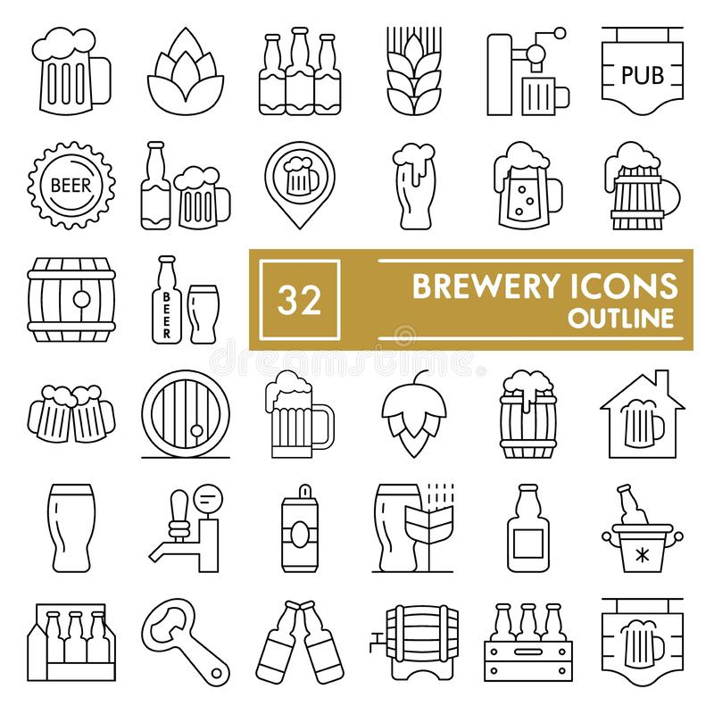 A linha fina grupo da cervejaria do ícone, símbolos coleção da cerveja, esboços do vetor, ilustrações do logotipo, cerveja ingles ilustração royalty free