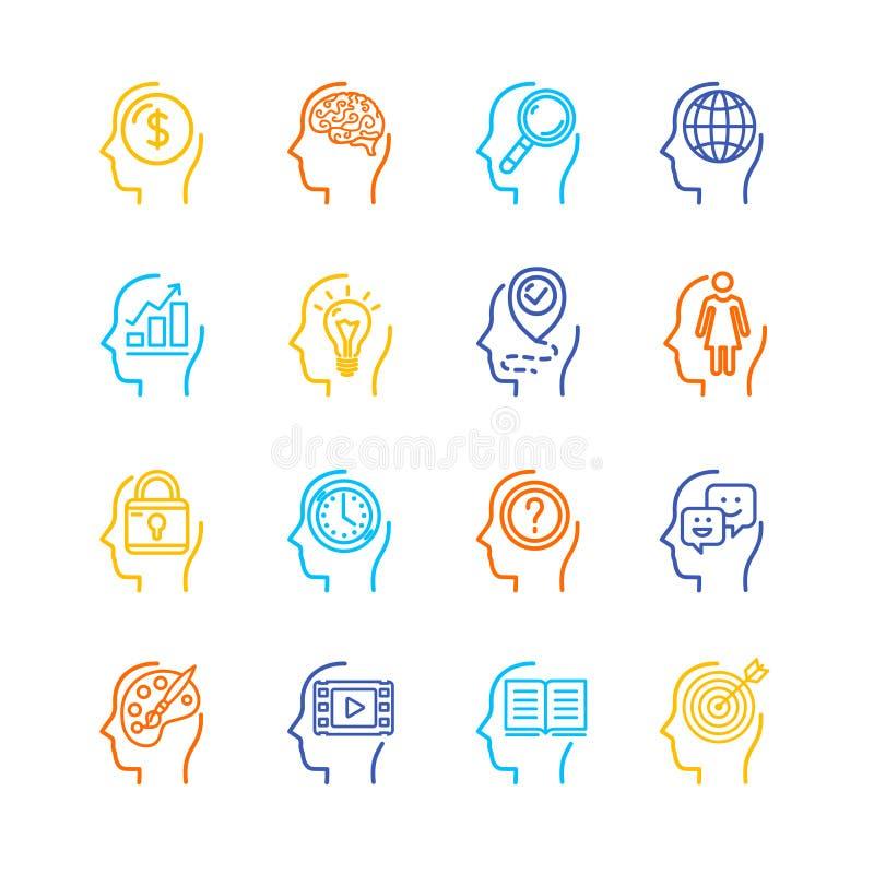 Linha fina grupo da cor da mente humana do símbolo do ícone Vetor ilustração do vetor