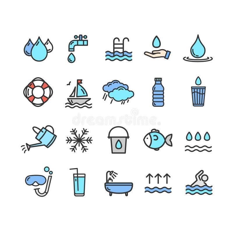Linha fina grupo da cor dos sinais da associação e da água do ícone Vetor ilustração stock