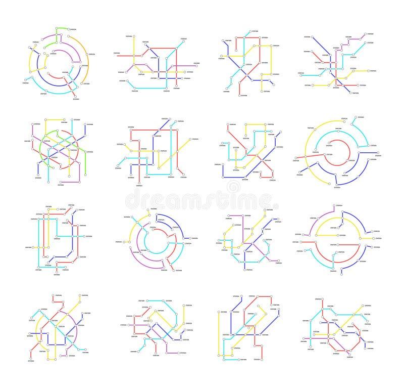 Linha fina grupo da cor dos sinais do mapa do metro do ícone Vetor ilustração do vetor