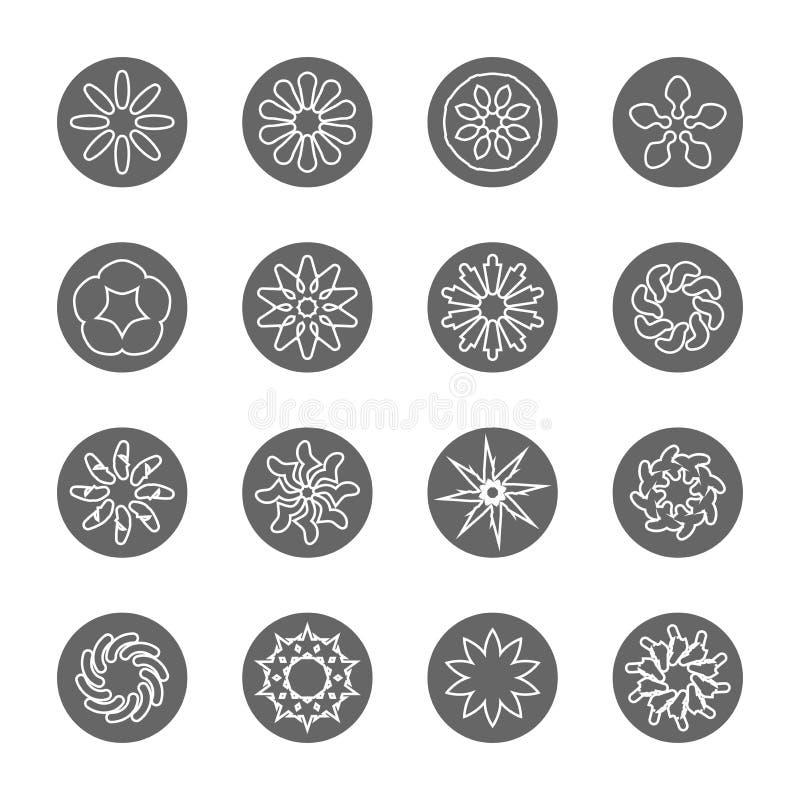 Linha fina grupo da flor branca do ícone imagem de stock royalty free
