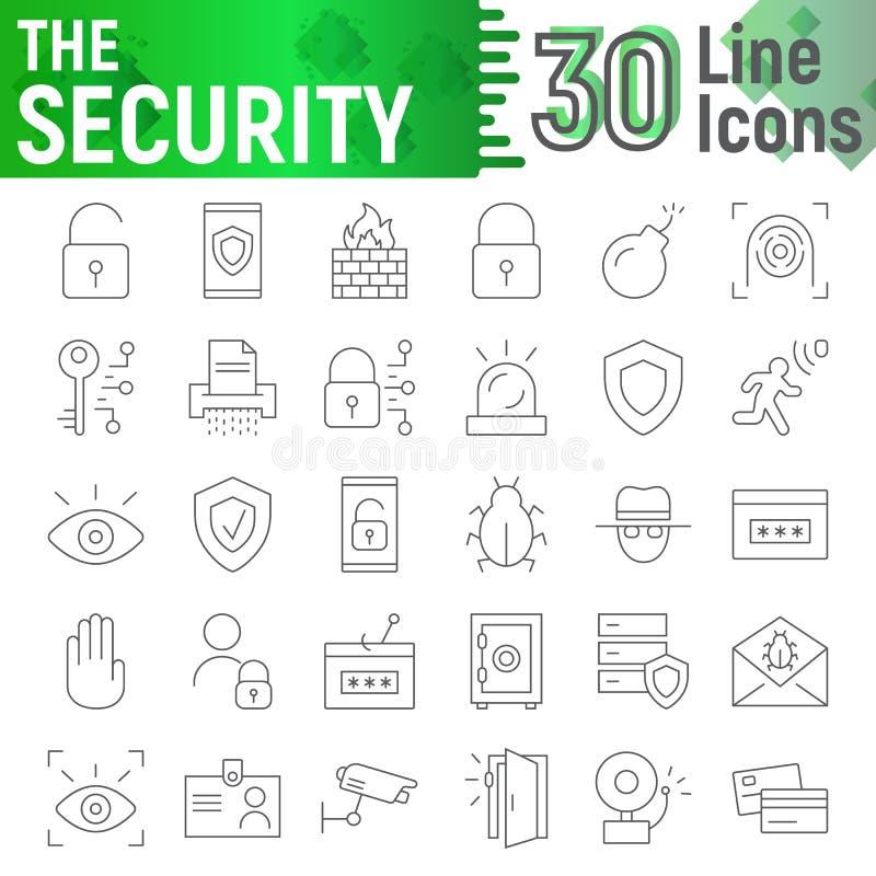 A linha fina grupo da segurança do ícone, símbolos coleção da proteção, esboços do vetor, ilustrações do logotipo, defesa assina ilustração stock