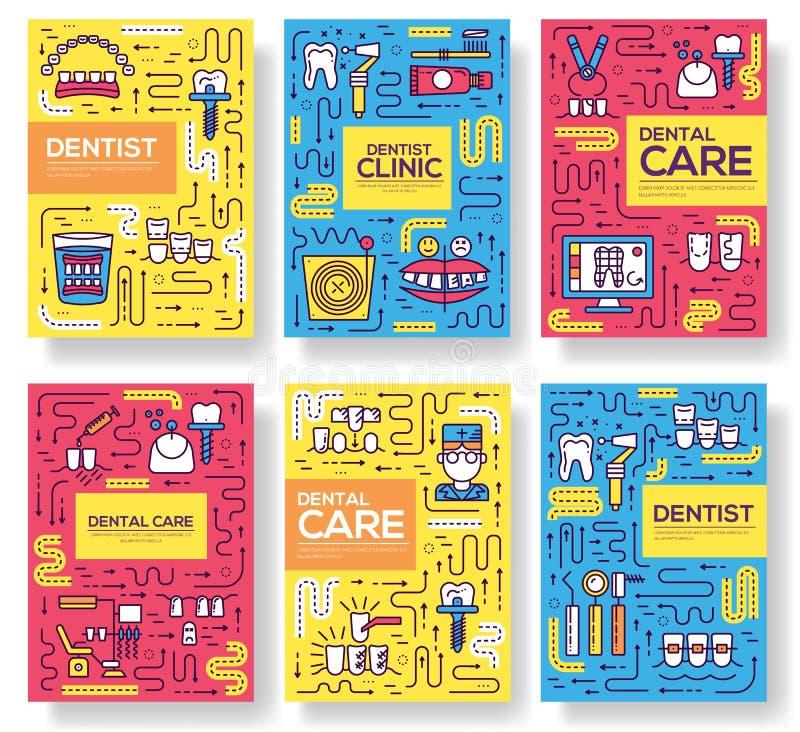 Linha fina grupo de cartões do folheto do cozimento da clínica do dentista Amolgue o molde de flyear, compartimentos dos instrume ilustração stock