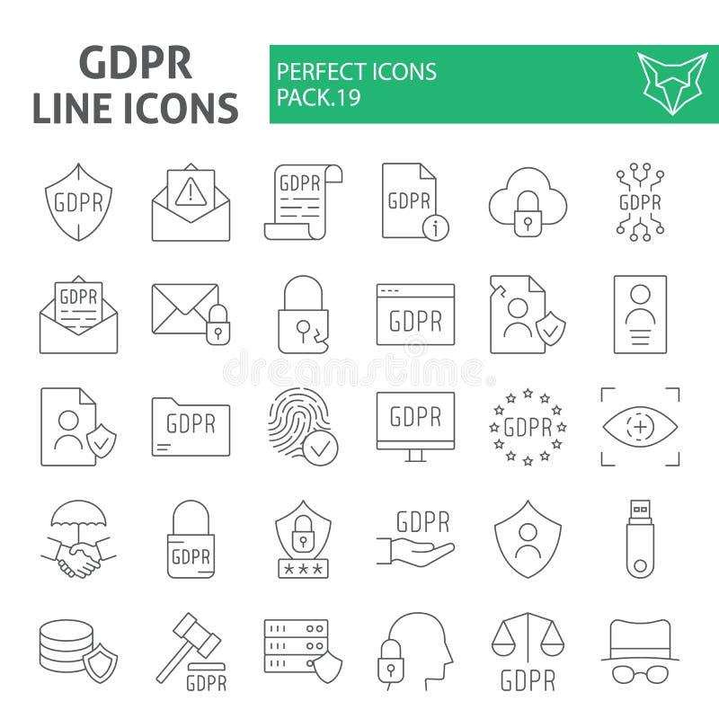 Linha fina grupo de Gdpr do ícone, símbolos regulamentares coleção da proteção de dados geral, esboços do vetor, ilustraç ilustração stock