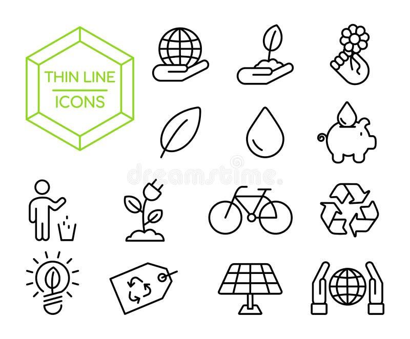 Linha fina grupo do ambiente amigável verde do eco do ícone ilustração do vetor